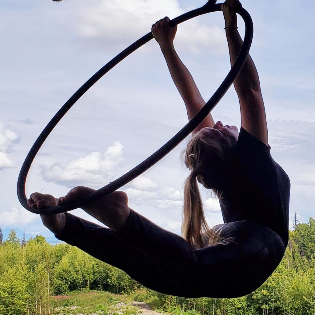 Sarah Abts on the Aerial Hoop in Talkeetna, Alaska outside Anchorage on a retreat hosted by Pacific Rim Athletics.