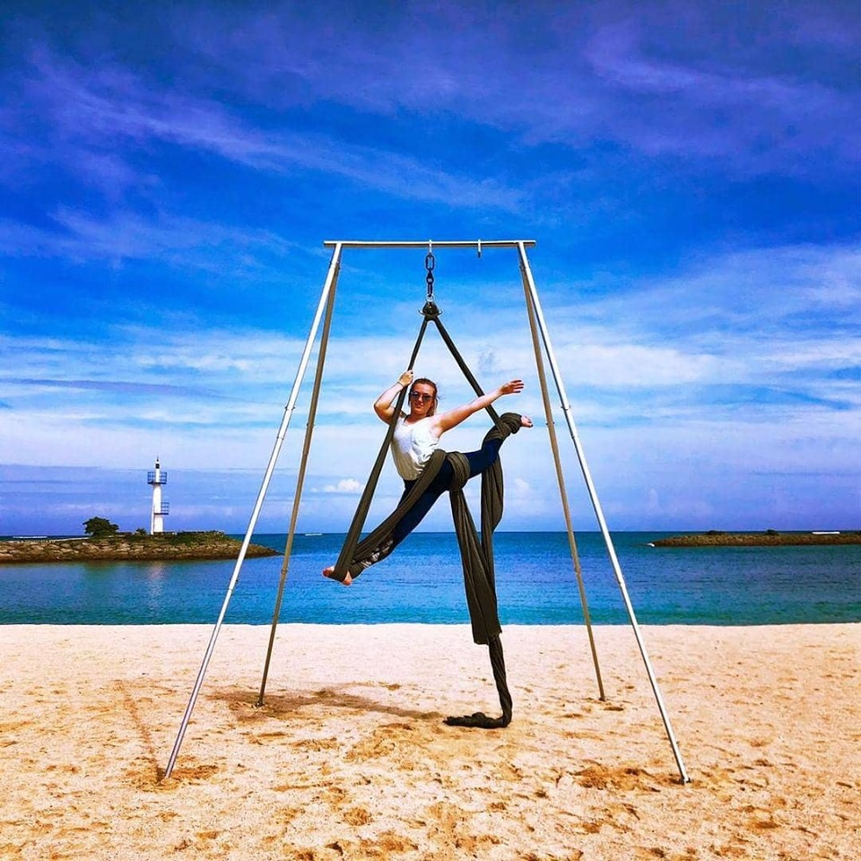Here's Lauren on Aerial Silks at a Pacific Rim Athletics Retreat in Okinawa, Japan.