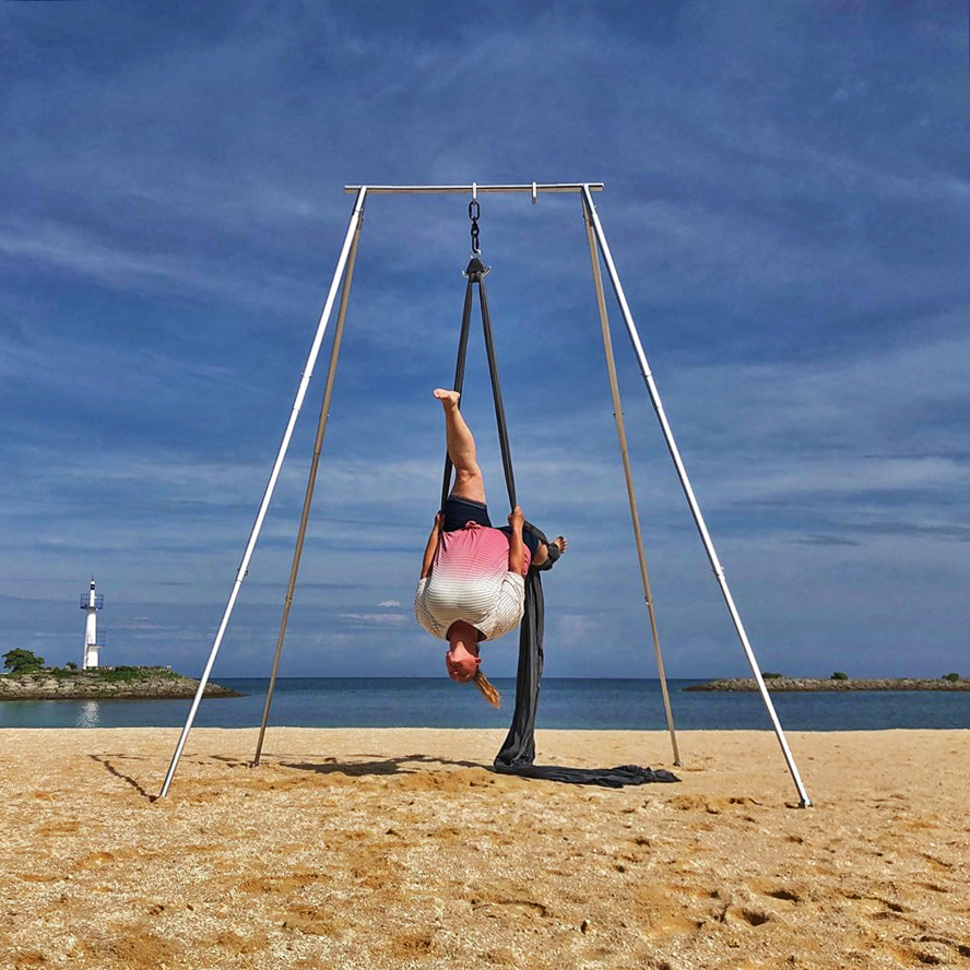 Michelle, mother of 2, doing a lay back on Aerial Silks in Okinawa, Japan on a retreat hosted by Pacific Rim Athletics.